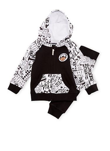 Baby Boy Trukfit Hoodie and Joggers Set in Scribble Print,BLACK,large