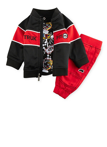 Baby Boy Trukfit Track Jacket and Tee with Denim Joggers Set,RED,large