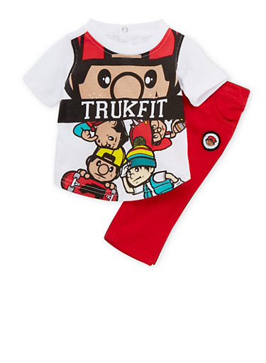 Baby Boy Trukfit Graphic Top and Jeans Set,RED,large