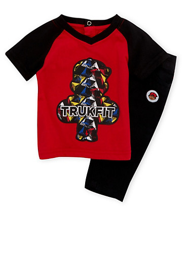 Baby Boy Trukfit T-Shirt and Jeans Set,BLACK,large