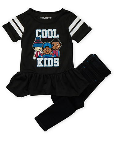 Toddler Girls Trukfit Tunic Top and Jeans Set,BLACK,large