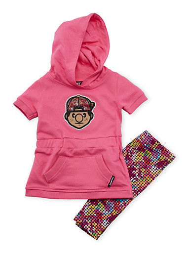 Toddler Girls Trukfit Hoodie and Leggings Set,FUCHSIA,large