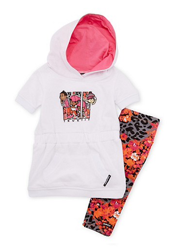 Toddler Girls Trukfit Graphic Hooded Dress with Printed Leggings Set,WHITE,large