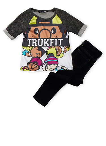 Toddler Girls Trukfit French Terry Top and Jeans,BLACK,large