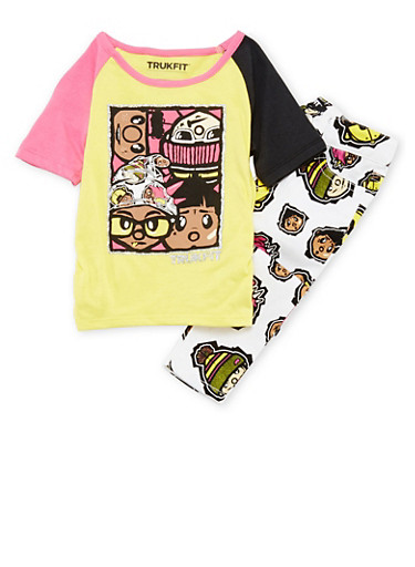 Toddler Girls Trukfit Graphic Tee with Printed Skinny Pants Set,LIGHT YELLOW,large