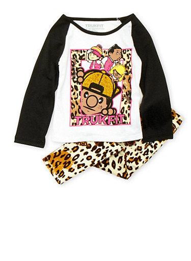 Toddler Girls Trukfit Glitter Graphic Top with Leopard Print Pants Set,WHITE,large