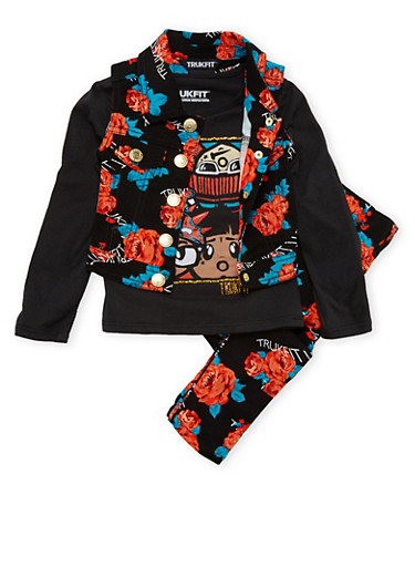 Toddler Girls Trukfit Vest and Graphic Top and Jeans Set,BLACK,large