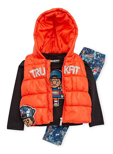 Toddler Girls Trukfit Puffer Vest with Tee and Jeans Set,ORANGE,large