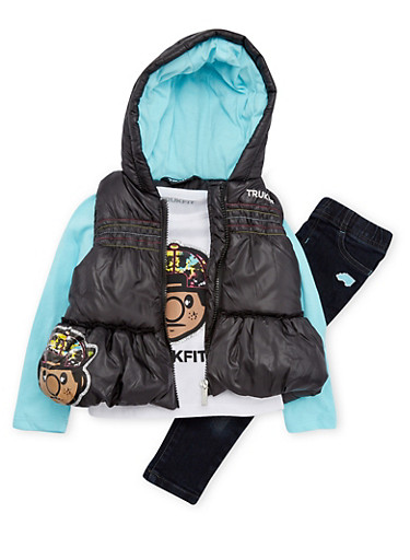 Toddler Girls Trukfit Top with Hooded Vest and Pants Set,BLACK,large