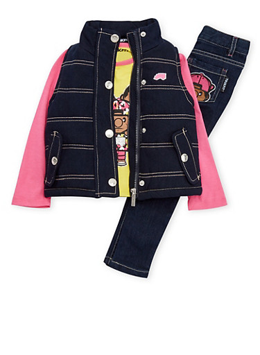 Toddler Girls Trukfit Top with Vest and Jeans Set,YELLOW,large