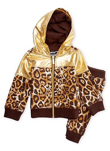 Toddler Girls Trukfit Leopard Print Hoodie and Joggers Set,GOLD,large