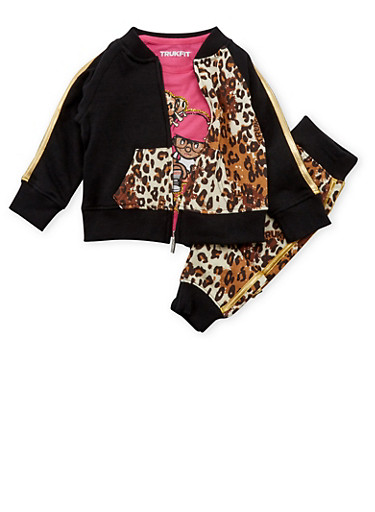 Toddler Girls Trukfit Printed Jacket with Graphic Tee and Joggers Set,BLACK,large