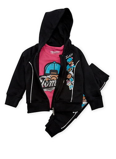 Toddler Girls Trukfit Graphic Hoodie and Tee with Joggers Set,BLACK,large