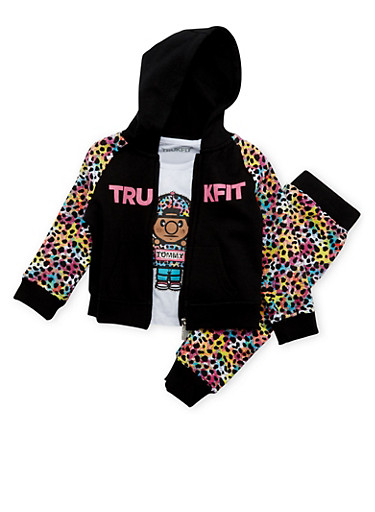 Toddler Girls Trukfit Printed Hoodie and Tee with Joggers Set,BLACK,large