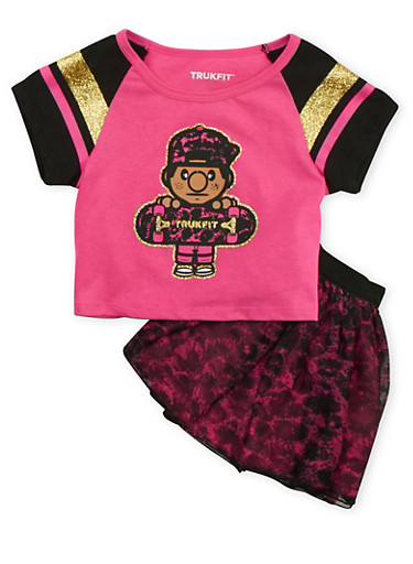 Toddler Girls Trukfit T-Shirt and Tutu Set,FUCHSIA,large