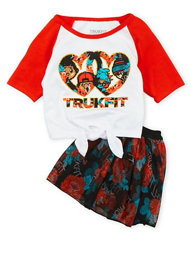 Toddler Girls Trukfit Tie-Front Top and Floral Tutu Set with Graphic,ORANGE,large