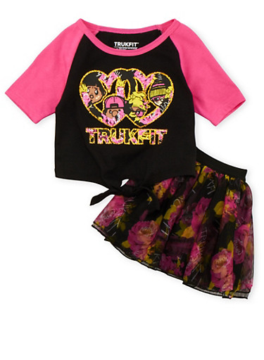 Toddler Girls Trukfit Tie-Front Top and Floral Tutu Set with Graphic,FUCHSIA,large