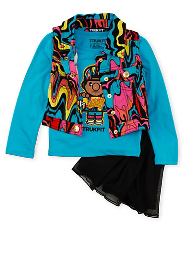 Toddler Girls Trukfit Printed Vest and Graphic Top with Tutu Set,BLACK,large