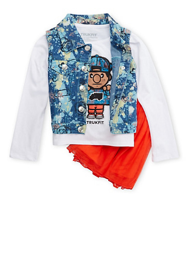 Toddler Girls Trukfit Denim Vest and Graphic Top with Tutu Set,RED,large