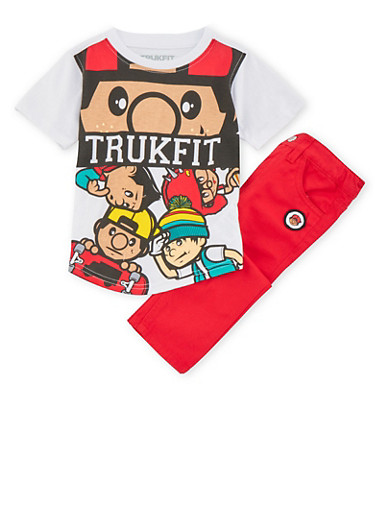 Toddler Boys Trukfit Graphic Tee and Pants Set,RED,large