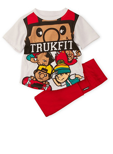 Toddler Boys Trukfit Graphic Tee and Jeans Set,RED,large