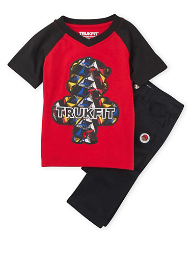 Toddler Boys Trukfit Color Block Tee and Jeans Set,BLACK,large
