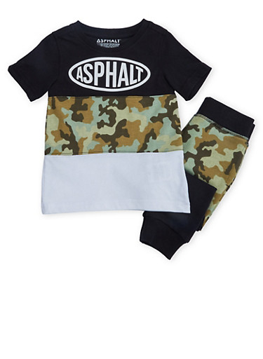 Toddler Boys Color Block T-Shirt and Joggers Set,BLACK,large