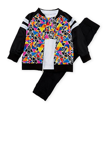Toddler Boys Asphalt T-Shirt with Bomber Jacket and Joggers Set,BLACK,large