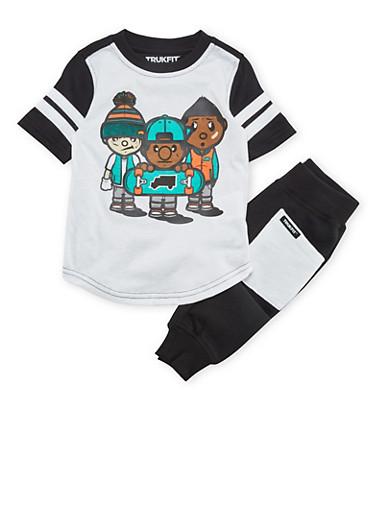 Toddler Boys Trukfit T-Shirt and Joggers Set,BLACK,large