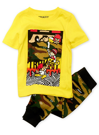 Toddler Boys Trukfit Graphic Tee and Camo Joggers Set,YELLOW,large