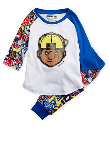 Toddler Boys Trukfit Printed Tee and Joggers Set with Graphic,ROYAL,large
