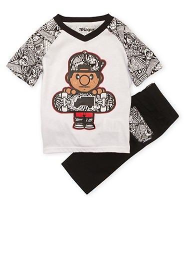 Toddler Boys Trukfit Printed Tee and Jeans Set with Graphic,BLACK,large