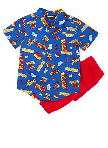 Toddler Boys Trukfit Printed Shirt with Twill Joggers Set,RED,large