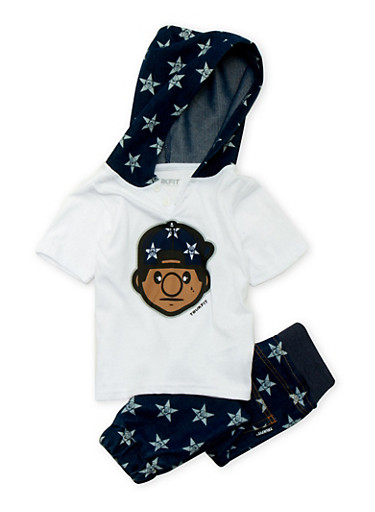 Toddler Boys Trukfit Hooded Short Sleeve Tee and Joggers with Denim Star Print,INDIGO,large