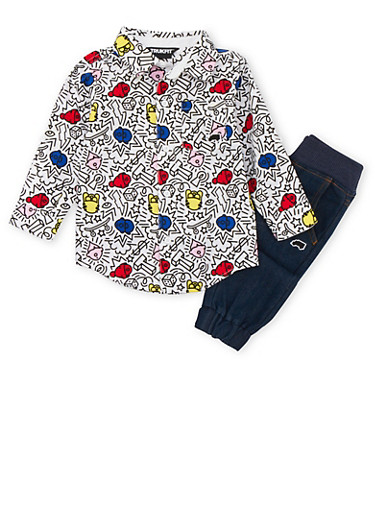 Toddler Boys Trukfit Printed Shirt and Denim Moto Joggers Set,INDIGO,large