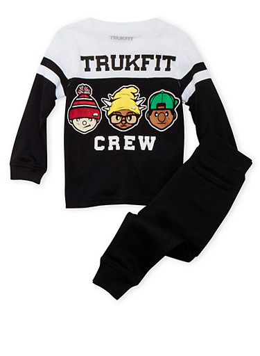 Toddler Boys Trukfit Varsity Top and Joggers Set,BLACK,large