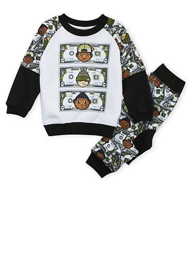 Toddler Boys Trukfit Fleece Sweatsuit Set with Money Print,BLACK,large