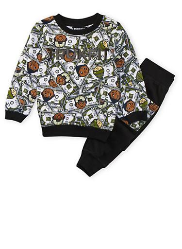 Toddler Boys Trukfit Money Print Sweatshirt with Matching Joggers Set,BLACK,large