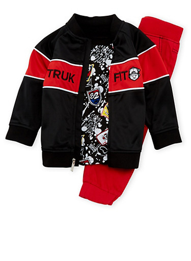 Toddler Boys Trukfit Graphic Tee Jacket and Joggers with Spray Paint Print,RED,large