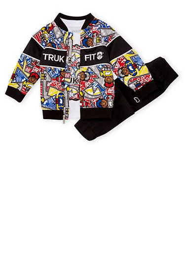 Toddler Boys Trukfit Graphic T-Shirt with Jacket and Pants Set,BLACK,large