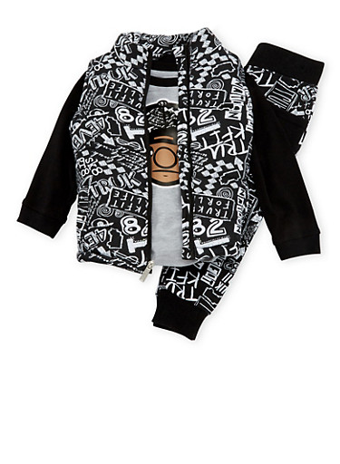 Toddler Boys Trukfit Graphic Shirt with Sketch Print Puffer Vest and Joggers Set,BLACK,large