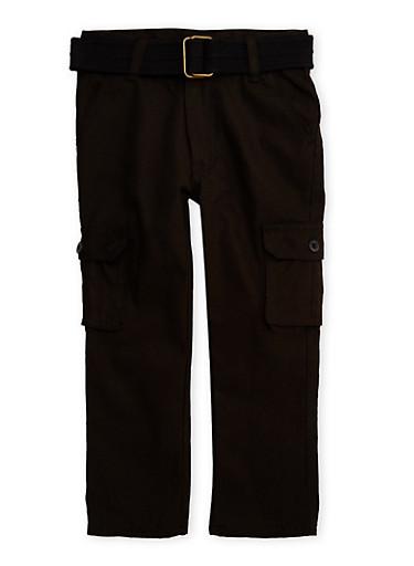 Boys 4-7 Cargo Pants with Belt,BLACK,large