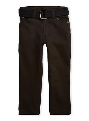 Girls 4-7 Denim Pants with Canvas Belt,BLACK,large