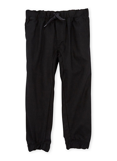 Boys 4-7 Twill Joggers with Drawstring Waist,BLACK,large