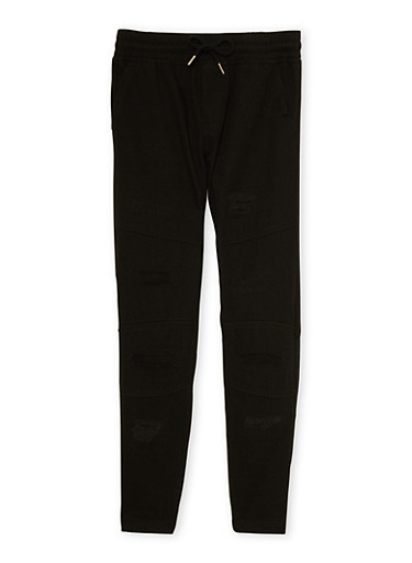 Boys 8-20 Distressed Joggers with Drawstring Waist,BLACK,large