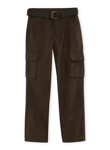 Boys 8-16 Twill Cargo Pants,BLACK,large