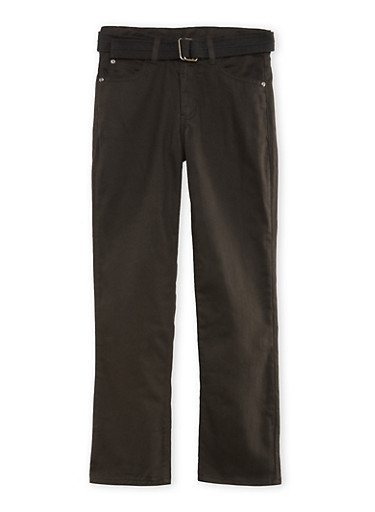Boys 8-16 Belted Twill Pants with Embroidered Pockets,BLACK,large