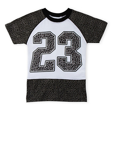 Boys 4-7 Patterned T-Shirt with 23 Graphic,WHITE,large