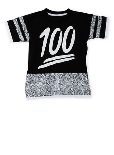 Boys 4-7 Printed T-Shirt with 100 Graphic,BLACK/WHITE,large