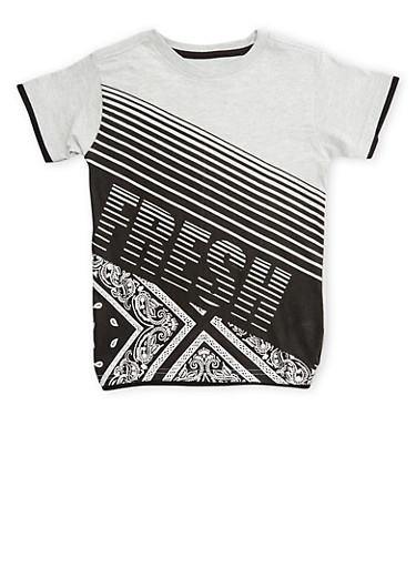 Boys 4-7 Tee with Fresh Graphic,HEATHER,large